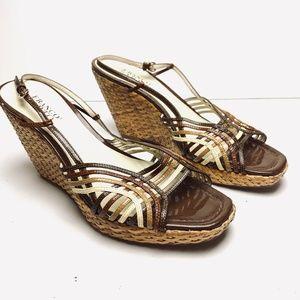 FRANCO SARTO Wedge Brown Leather Sandals Heels 10